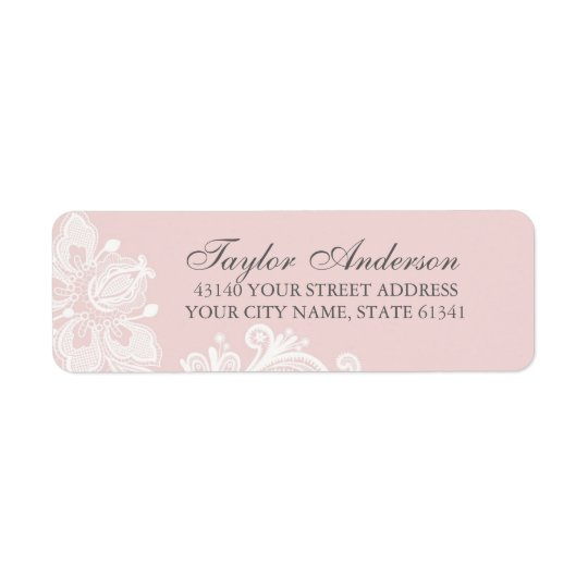Elegant Dusty Pink Lace Return Address Label