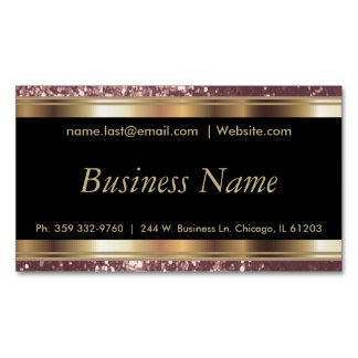 Elegant Dusty Rose and Black and Gold Magnetic Business Card