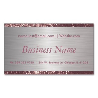 Elegant Dusty Rose and Brush Silver Steel Magnetic Business Card