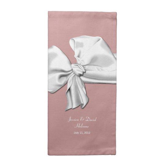 Elegant Dusty Rose and White Bow Wedding Napkins