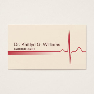 Elegant ECG wave cardiologist business card