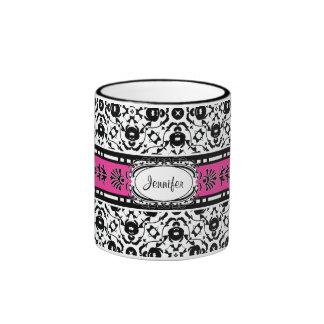 Elegant Edwardian Damask Add Your Name Coffee Mugs