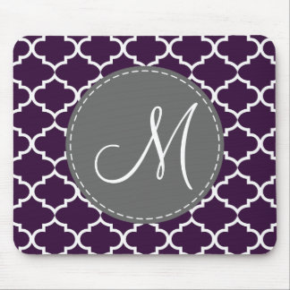 Elegant Egglpant Purple Quatrefoil with Monogram Mouse Mat