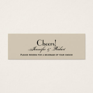 Elegant Eggshell Ecru Wedding Drink Ticket
