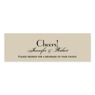 Elegant Eggshell Ecru Wedding Drink Ticket Business Cards