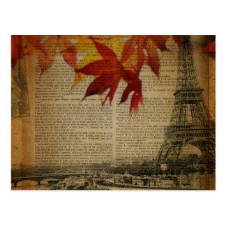 elegant eiffel tower floral vintage paris postcard