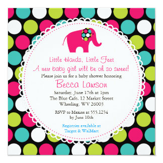 Elegant Elephant Polkadots Baby Shower Invitations