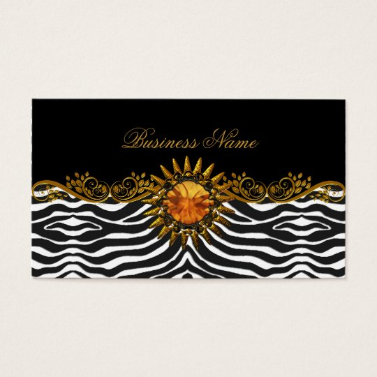 Elegant Elite Classy Black Gold Zebra Animal Business Card