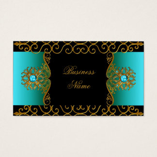 Elegant Elite Classy Teal Blue Black Gold Business Card