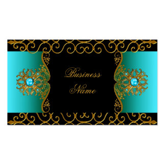 Elegant Elite Classy Teal Blue Black Gold Pack Of Standard Business Cards