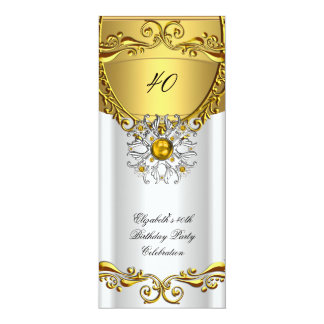 Elegant Elite White Jewel Gold Birthday Party Card