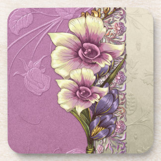 Elegant Embossed Lilac Damask Coasters