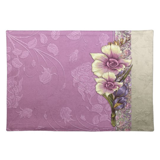 Elegant Embossed Lilac Damask Placemat
