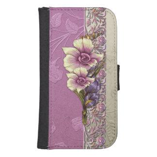 Elegant Embossed Lilac Damask Samsung S4 Wallet Case