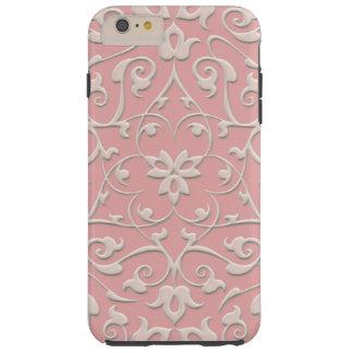 Elegant Embossed Pink Girly Swirls Tough iPhone 6 Plus Case