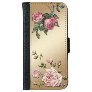 Elegant Embossed Pink Roses on Gold Background iPhone 6 Wallet Case