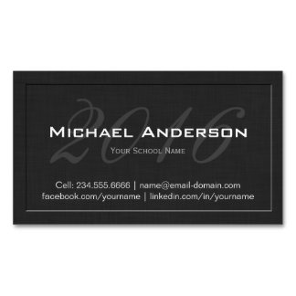 Elegant Embossed Senior Class Graduation Name Card Magnetic Business Cards (Pack Of 25)