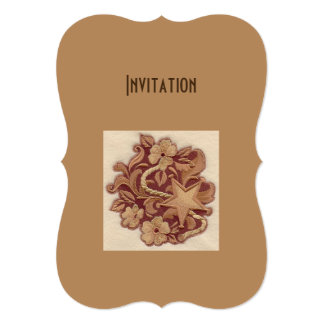 """Elegant Embroidery Flowers and Star 5"""" X 7"""" Invitation Card"""