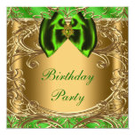 Elegant Emerald Green and Gold Birthday Party Invite