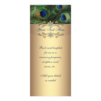 Elegant Emerald Green Gold Peacock Rack Card