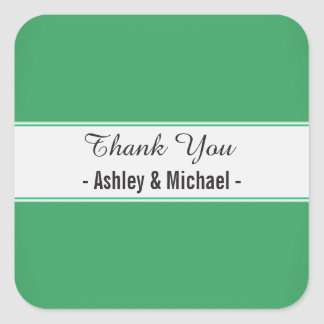 Elegant Emerald Green Thank You Square Sticker