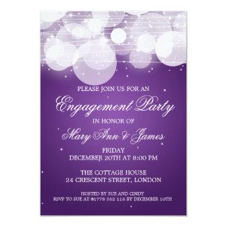 Elegant Engagement Party Glow & Sparkle Purple 13 Cm X 18 Cm Invitation Card