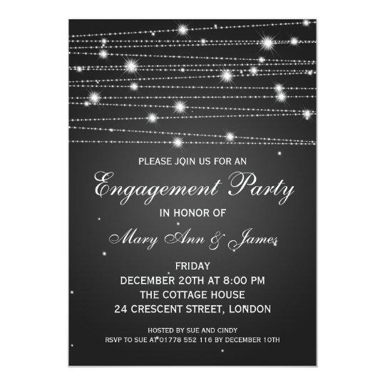 Elegant Engagement Party Sparkling Lines Black Card