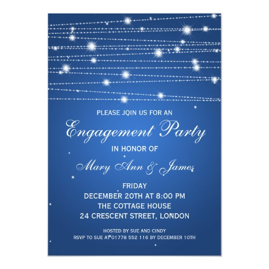Elegant Engagement Party Sparkling Lines Sapphire Card