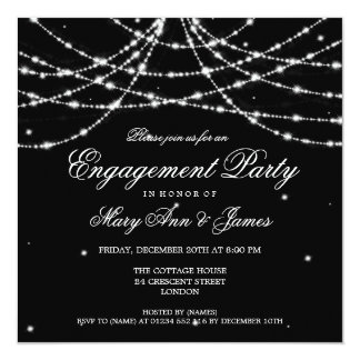 Elegant Engagement Party Sparkling String Black 13 Cm X 13 Cm Square Invitation Card