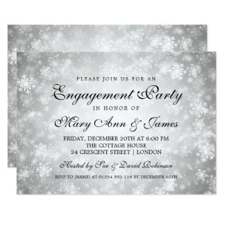 Elegant Engagement Party Winter Wonderland Silver Card