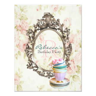 elegant english floral vintage birthday party card