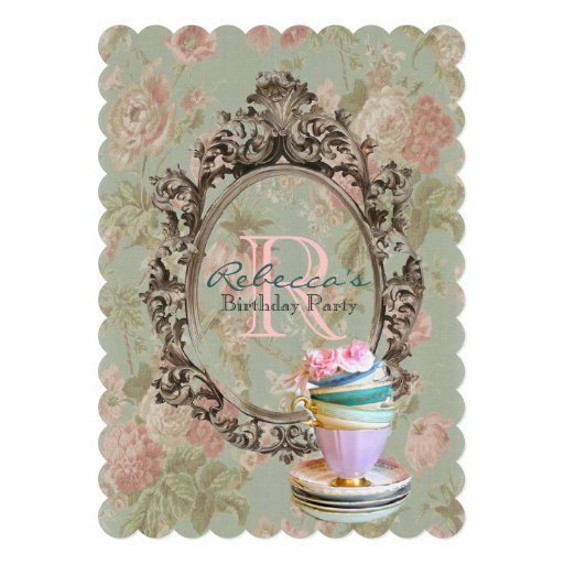 elegant english floral vintage birthday party personalized announcement