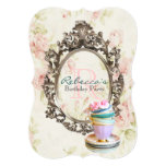 elegant english floral vintage birthday party 5x7 paper invitation card