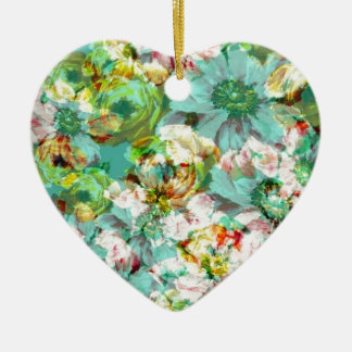 Elegant English Flower Ceramic Heart Decoration