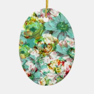 Elegant English Flower Double-Sided Oval Ceramic Christmas Ornament