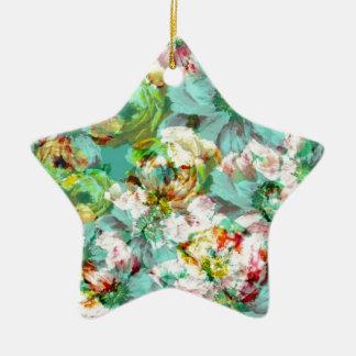 Elegant English Flower Ceramic Star Decoration