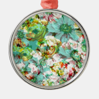 Elegant English Flower Silver-Colored Round Decoration