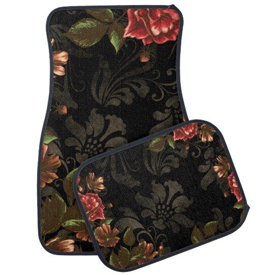 Elegant Engraved Black Floral Car Mat