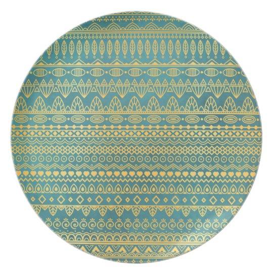 Elegant Ethnic Golden Pattern | Melamine Plate