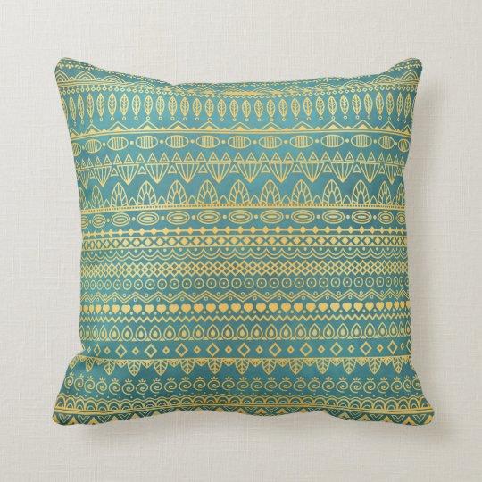 Elegant Ethnic Golden Pattern | Throw Pillow