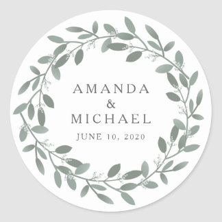 Elegant Eucalyptus Wedding Envelope Seal Round Sticker