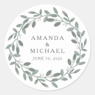 Elegant Eucalyptus Wedding Envelope Seal Round Sticker