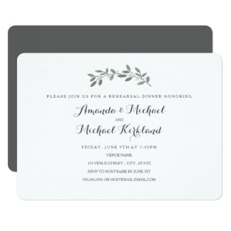 Elegant Eucalyptus Wedding Rehearsal Dinner Card