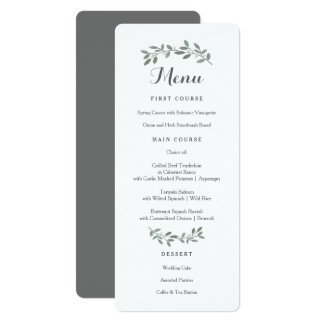 Elegant Eucalyptus Wedding Suite Menu Card
