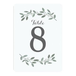 Elegant Eucalyptus Wedding Suite Table Numbers Card