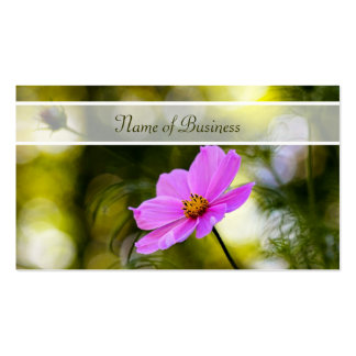 Elegant Evening Pink Cosmos Wildflower With Name Business Card Template