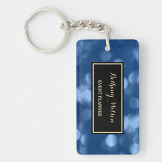 Elegant Event Planner Glamorous Blue Luxe Bokeh Double-Sided Rectangular Acrylic Key Ring