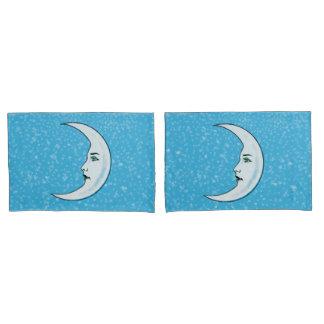 Elegant Face white Crescent Moon Stars Aqua Blue Pillowcase