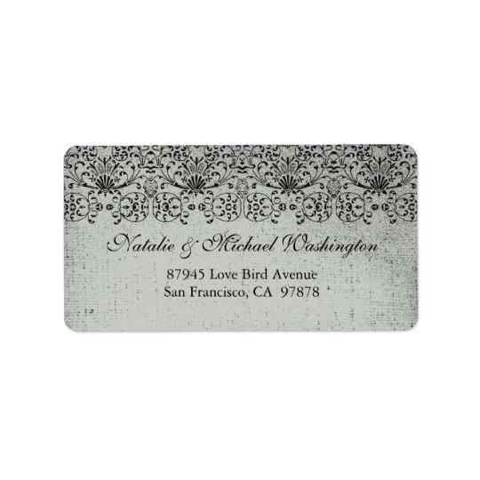 Elegant faded black silver damask address label