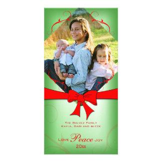Elegant Faded Green Red Ribbon Love Peace Joy Personalised Photo Card